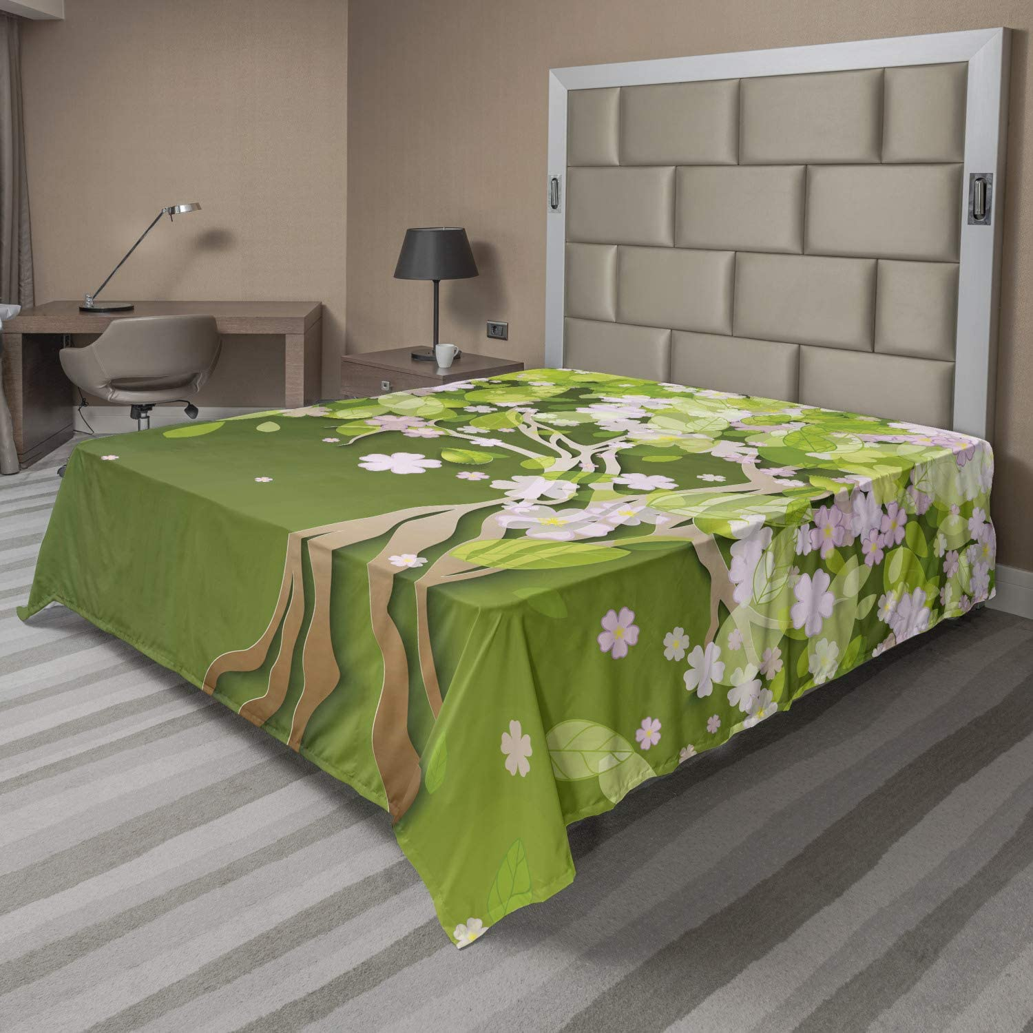 Ambesonne Floral Flat Sheet Tree Flourishing Weekly update Pe Max 42% OFF with Blossoming