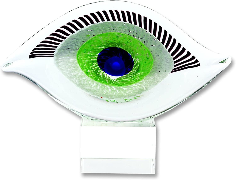 Badash Crystal - Visionary Good Luck Murano Style Art Glass Eye Centerpiece H7.5 x L10 Inch