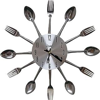Linian Reloj De Pared De La Sala De Estar Dormitorio Cocina Redonda Silencio, Reloj De Pared con Cuchillo y Tenedor 32x32cm Reloj De Pared De Metal
