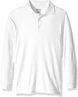 Classroom School Uniforms Boys' Little Youth Unisex Long Sleeve Interlock Polo, sos White, S