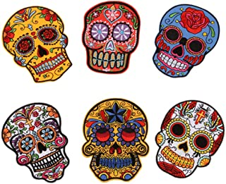 Skull Iron On Patches Sugar Skull Embroidery Sew On Appliques Ghost Head Cloth Chest Sticker with Day of The Dead Badges Logo for Free DIY Decoration Coat, Jackets, Jeans(6 PCS)