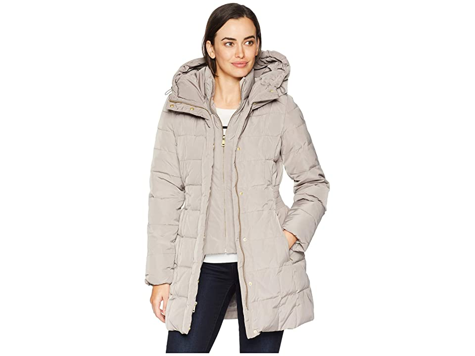 Cole Haan Down Coat with Bib Front and Dramatic Hood (Cashew) Women