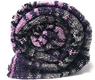 Mexican Throw Blanket Authentic Thick Acrylic, Soft and Perfect for Décor, Yoga, Beach, Park, Picnic, Camping (Purple, Light Purple, Gray - Grey, White, Black)