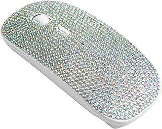 فأرة لاسلكية مبهرة قابلة للشحن بتردد 2.4 جيجا هرتز من زينستار مغطاة بالكريستال وأحجار الراين مع مستقبل USB، متوافقة مع أجه...