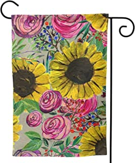 Sunflowers Roses Garden Flag Flowers House Flag Vertical Double Sided Yard Outdoor Decor Party 12.5 X 18 Inch