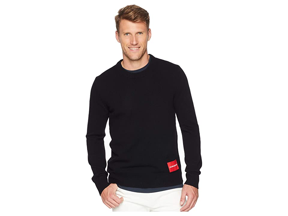 Calvin Klein Jeans Lambswool Pullover with Logo Patch (Black) Men
