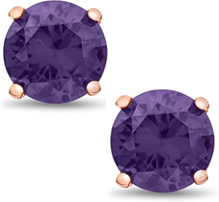 Square 3x3mm Lavender Purple CZ Rose Gold Plated Sterling Silver Stud Earrings
