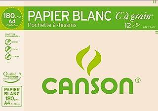 Canson - Pochette de 12 feuilles de papier dessin C A GRAIN 180g - A4