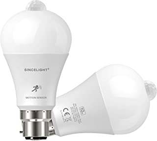 Motion Sensor PIR LED Bulb with B22 Base, Automatic ON/Off by Equipped PIR Sensor and Dusk to Dawn Sensor, Moving Detecto...