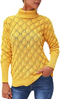 Women's Turtleneck Long Sleeve Knit Sweaters Pullover Jumpers