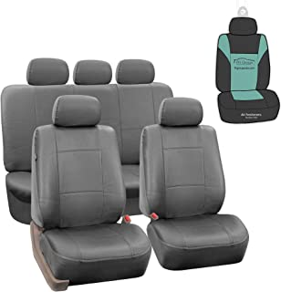 FH Group PU002115 Classic PU Leather Car Seat Covers Solid Gray, Airbag Compatible and Split Bench w. Gift - Fit Most Car, Truck, SUV, or Van