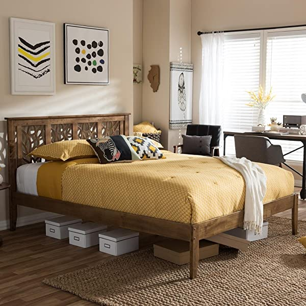 Baxton Studio Trina Platform Bed In Walnut Finish King 78 In L X 78 In W X 40 95 In H