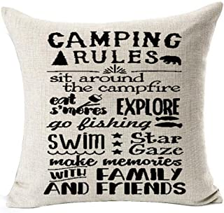 Retro Camping Rules be Relax Make Memories with Family and Friends Enjoy The Holiday Cotton Linen Throw Pillow Case Cushio...
