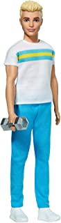 Barbie ​Ken 60th Anniversary Doll in Throwback Workout Look with T-Shirt, Athleisure Pants, Sneakers & Hand Weight Kids 3 ...