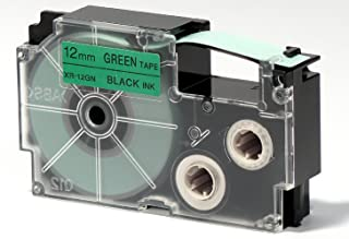 Casio XR-12GN1 Printer Labeling Tape - Black on Green