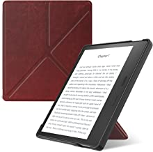 MoKo Case Fits All-New Kindle Oasis (9th and 10th Generation, 2017 and 2019 Release) ONLY, Hands-Free Slim Shell Origami Stand Protective Cover with Auto Wake/Sleep - Wine Red