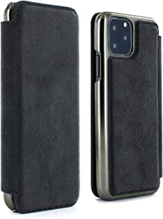 Greenwich Handmade Luxury Leather Walker Folio Case with Card Slot for Apple iPhone 11 Pro MAX - Electroplated Gunmetal Shell