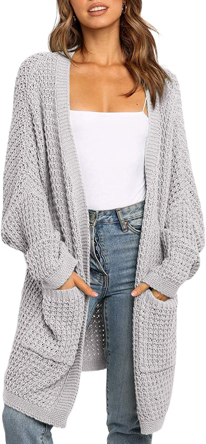 Ecrocoo Women Open Front Cardigan Sweater Long Sleeve Chunky Knit Cardigan Sweaters Loose Outwear Coat with Pockets