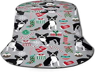 Fisherman Hat Boston Terrier Christmas Holiday Sun Hat Women Men Eye Protect Breathable Bonnie Cap 3D Printed Beach Hat Durable&Reversible for Summer Outdoor