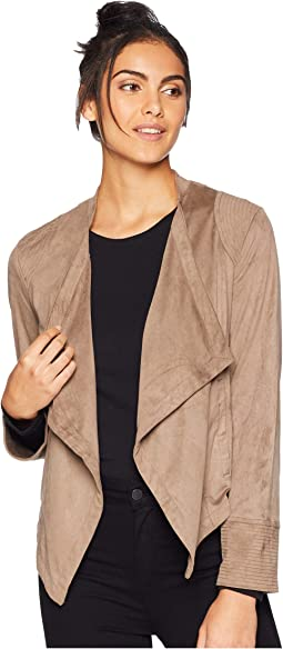 Big City Nights Faux Suede Drape Front Jacket
