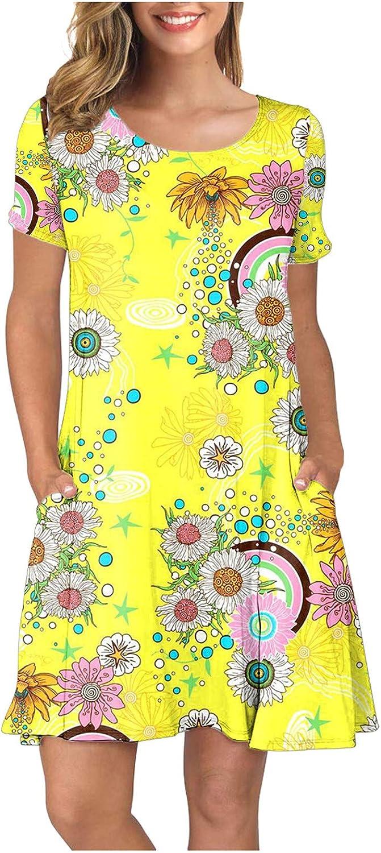 iQKA Women Max 78% OFF Summer Shirt Excellence Dress Sunflower Sleeve Print O Short Nec