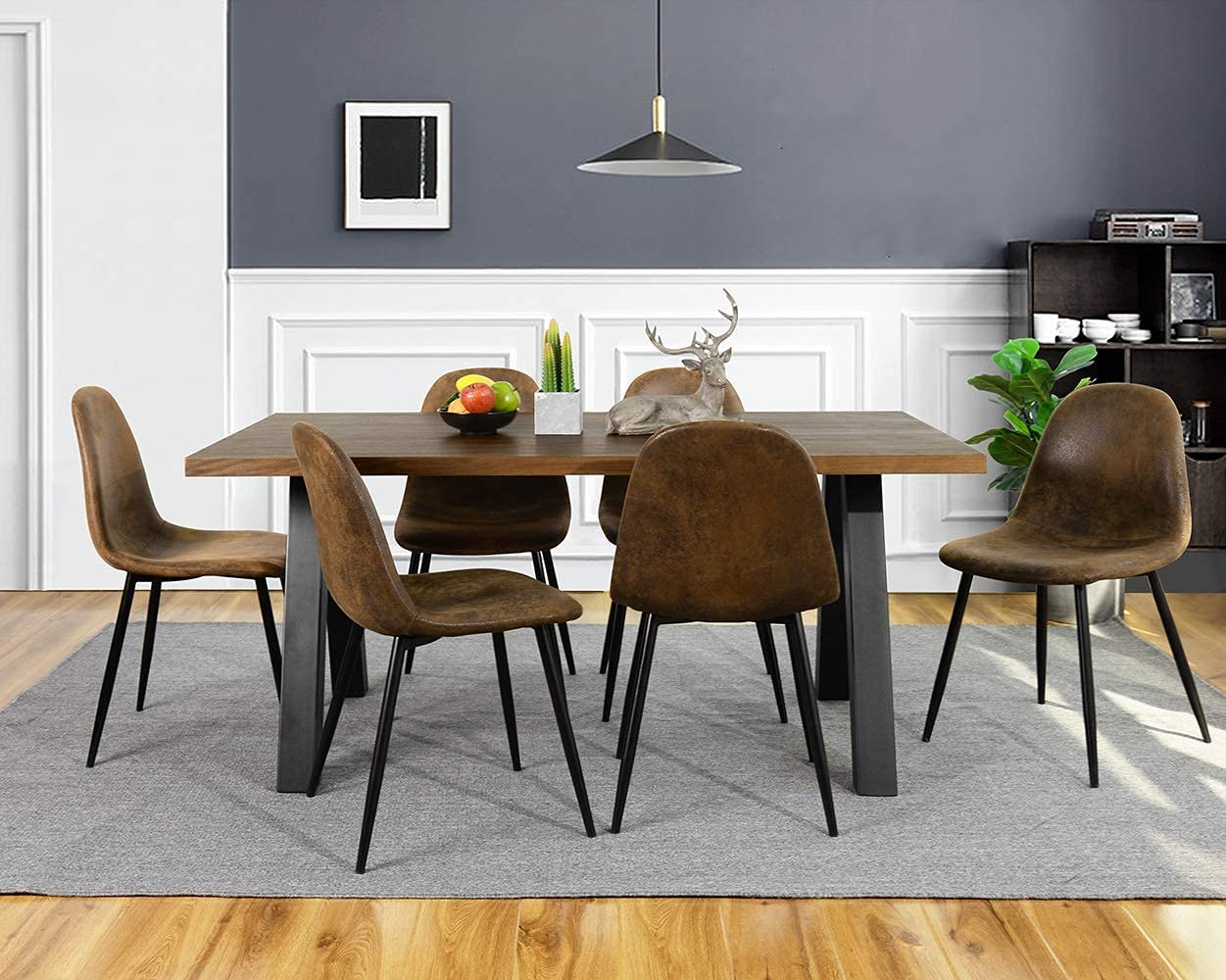 CozyCasa Dining Chairs Set of 9 Modern Style Mid Century Chair for Kitchen  Dining Room Accent Chair in Dark Brown, Black Leg