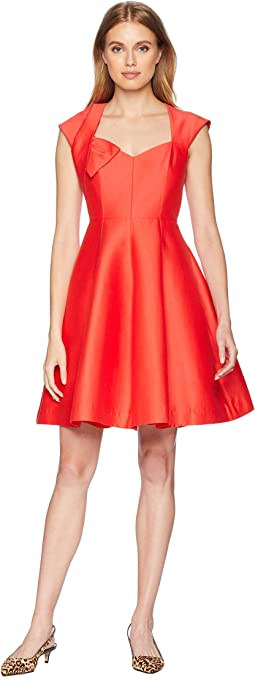 Cap Sleeve V-Neck Structure Dress w/ Bow