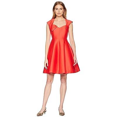 Halston Heritage Cap Sleeve V-Neck Structure Dress w/ Bow (Lipstick) Women