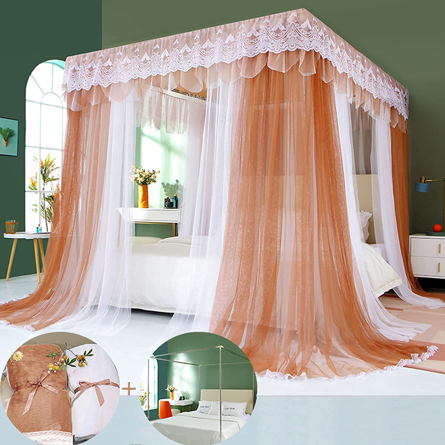 Outlet ☆ Free Shipping Sales of SALE items from new works SunnyLisa Canopy Frame for Bed with Size Netting Be Mesh Queen -