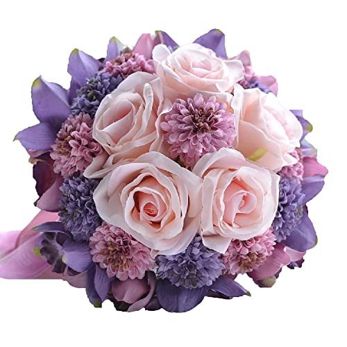 Pink And Purple Silk Bridal Bouquets For Wedding Amazon Com