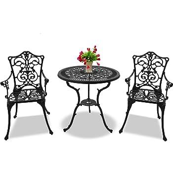 Centurion Supports BANGUI Garden /& Patio Table /& 2 Chairs Cast Aluminium Bistro Set Black