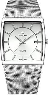 Men's Elite Ultra Thin Stainless Steel Analog Quartz Watch Square Luminous Mesh Wristwatch with Date