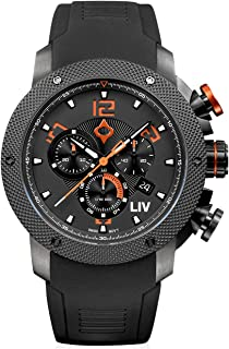 LIV GX1 Swiss Analog Display Chronograph Casual Watch for Men; 45 mm Stainless Steel with Date Calendar; 1000 feet Waterproof - Signature Orange