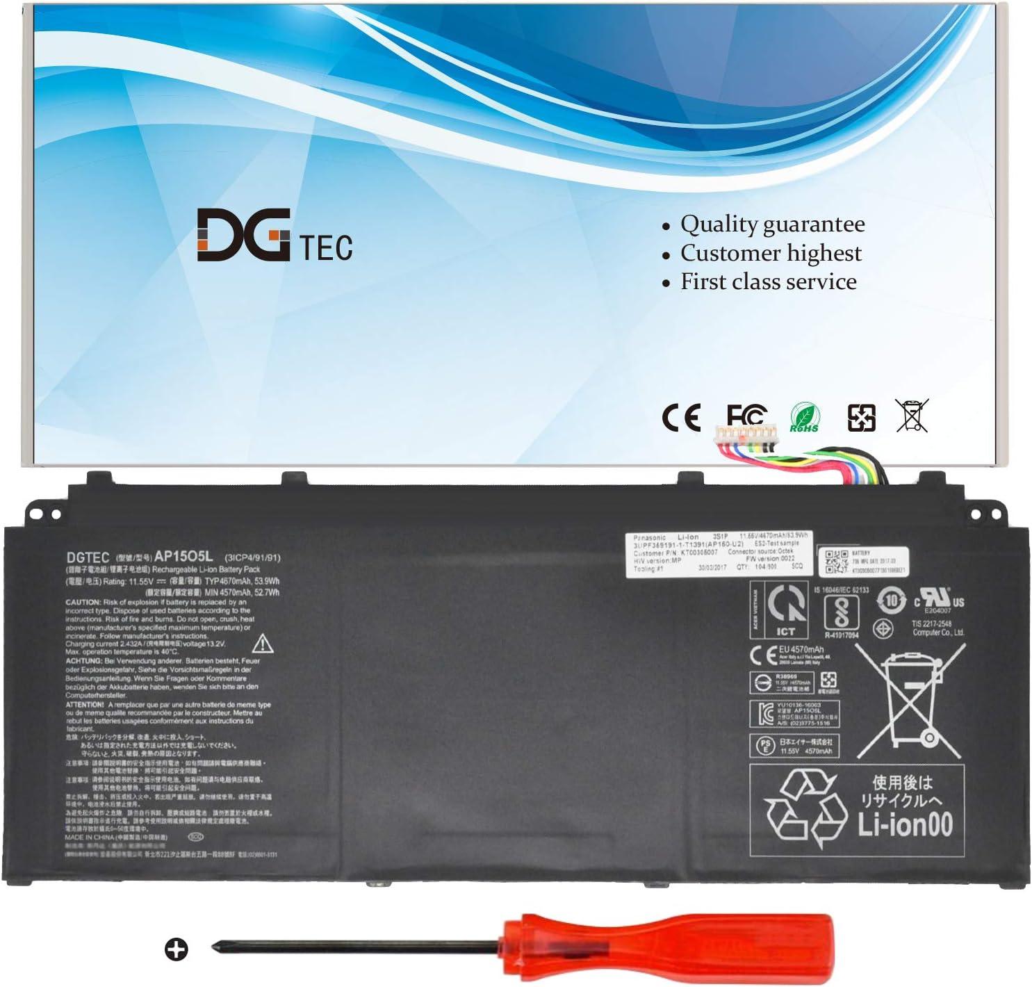 DGTEC New AP15O5L Laptop Battery for Acer Aspire S13 S5-371 S5-371T S5-371T-58CC S5-371-52JR S5-371-53NX S5-371T-58CC Chromebook R13 CB5-312T-K8Z9 SF514-51-558U CB5-312T(11.55V 53.9Wh/4670mAh)