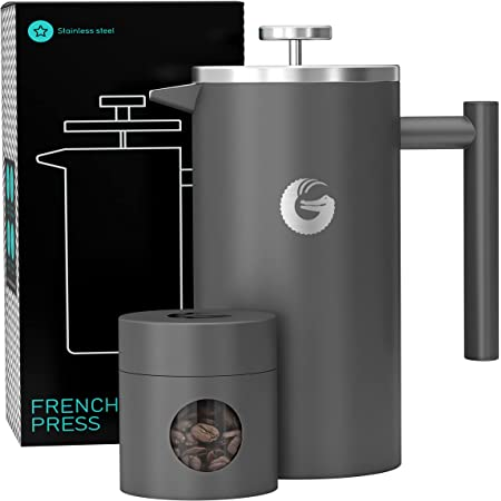 Coffee Gator French Press Coffee Maker- Insulated, Stainless Steel Manual Coffee Makers For Home, Camping w/ Travel Canister- Presses 4 Cup Serving- Large, Gray (34 fl oz)