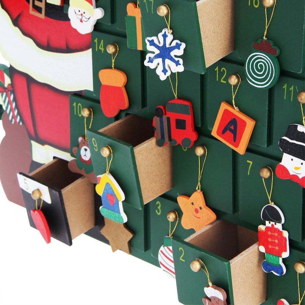 Deuba Calendario dell/' Avvento riempibile Locomotiva 24 piccoli regali in legno Natale bambini Decorazione natalizia