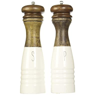 Mud Pie Farmhouse Wood and Enamel Mills Salt and Pepper Set, One Size, White, Brown