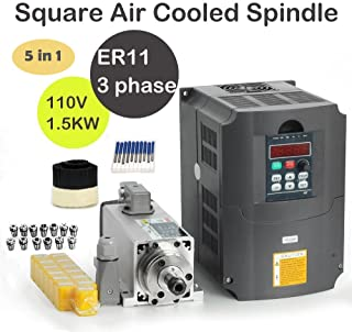 MYSWEETY 1Set DIY 110V 1500W Air Cooled Spindle Motor 1.5KW Square CNC Machine Tool Spindle + 110V 1.5KW Inverter VFD + 13PCS ER11+ 70mm Brush + Drill Bits