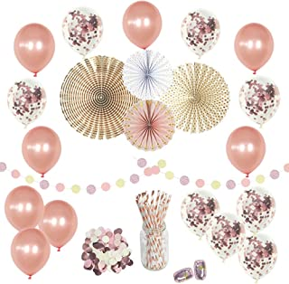 Rose Gold Birthday Party Decorations Supplies Set-(50 pc) - Confetti Balloons 12 in- Perfect for Girls Birthday Baby Bridal Wedding Shower Engagement Graduation Celebration Bachelorette