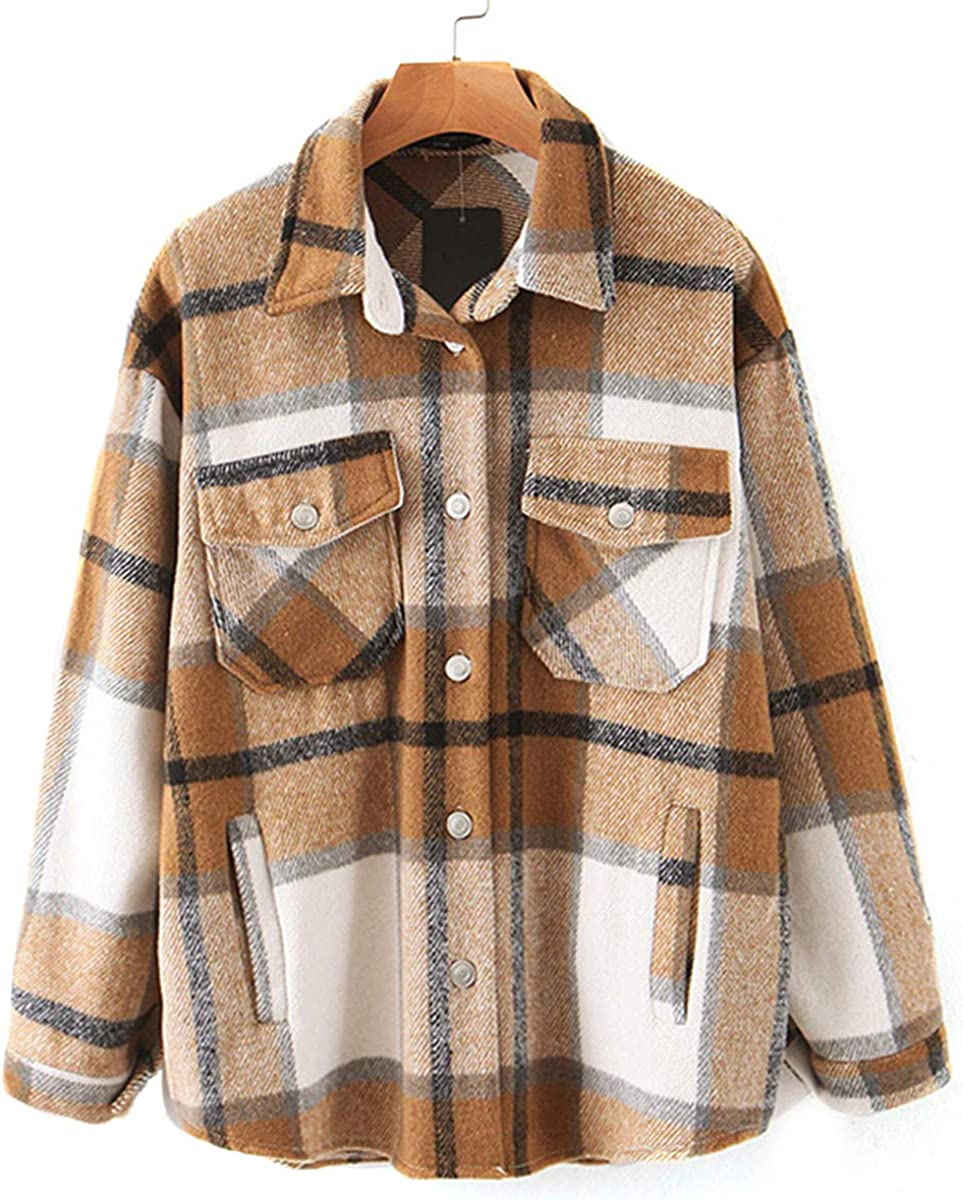 SLLSKY Womens Wool Blend Plaid Button Don't Ranking TOP4 miss the campaign Short Shacket Lapel Shirts