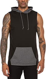 Men's Workout Gym Hooded Tank Top Sleeveless Cut Off Fashion T Shirts