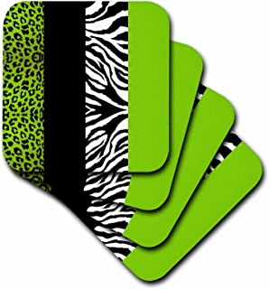 3dRose CST_35440_3 Lime Green Black and White Animal Print-Leopard and Zebra-Ceramic Tile Coasters, Set of 4