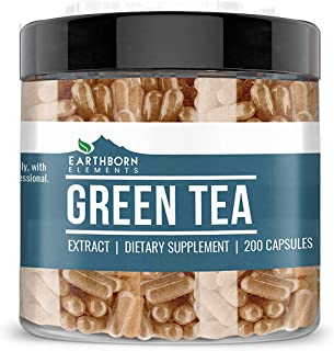 Green Tea Extract, 200 Capsules (400 MG per Serving) by Earthborn Elements, Dietary Supplement for Weight Loss, Fast Metab...