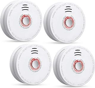 Siterlink 4 بسته آشکارساز دود Photoelectric دزدگیر و زنگ هشدار ، باطری (دزدگیر نیست) و دزدگیر آتش سوزی / آتش نشانی با دکمه تست ، فکتالکتریک آتش نشانی / هشدار UL ذکر شده (باتری 9 ولت)