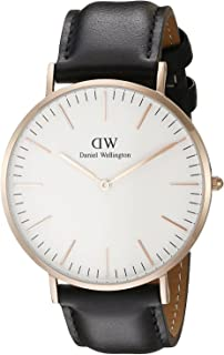 Daniel Wellington Classic Sheffield DW00100007 Leather Band Analog Watch for Men - Black and Rose Gold, 40 mm