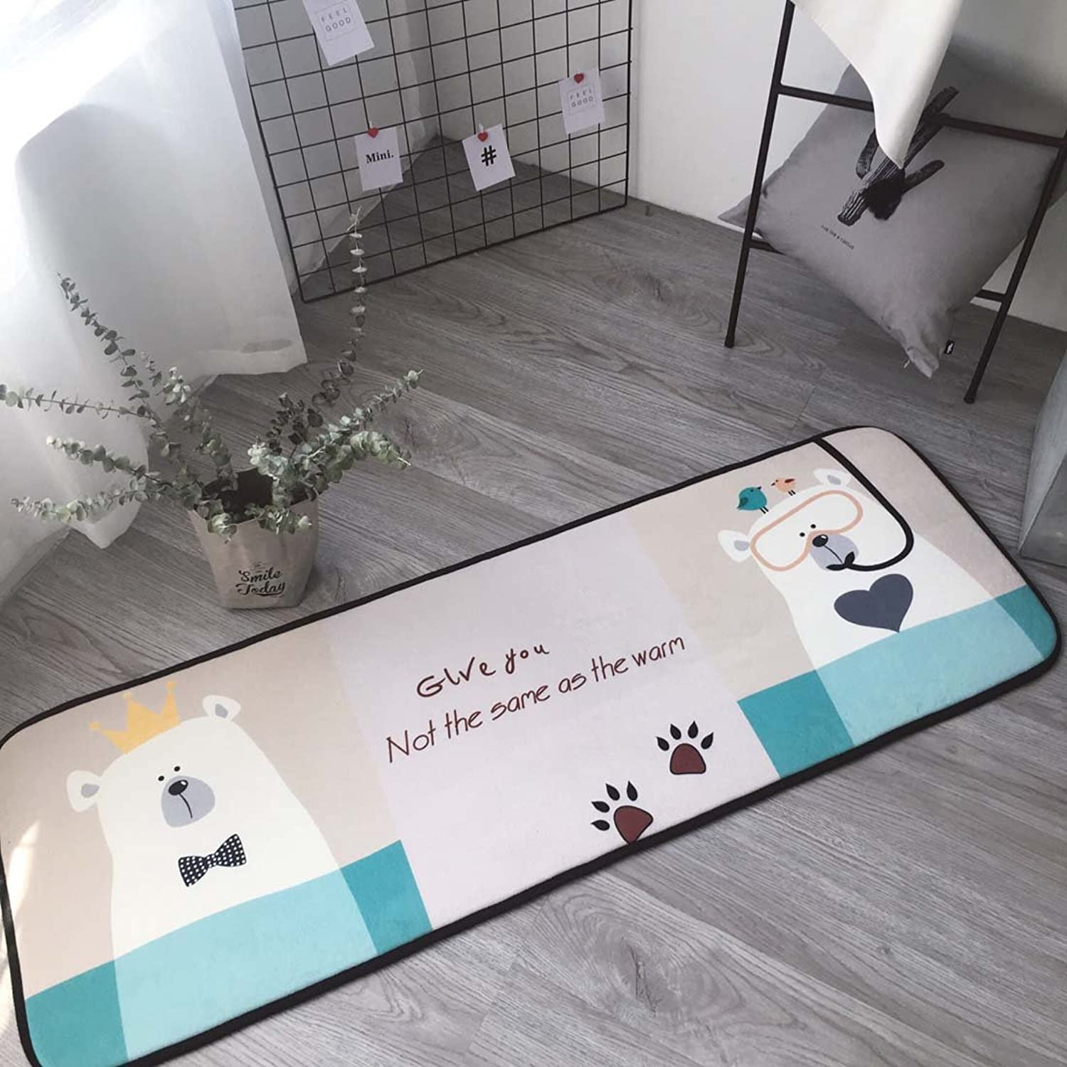 Babe MAPS Indoor Outdoor 2PCS Doormat Entrance Welcome Mat Absorbent Runner Inserts Non Slip Entry Rug Funny Cute Bear, Home Decor Inside shoes Scraper Floor Carpet 19 x27  19 x58