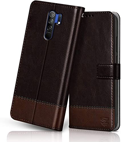 FLIPPED Vegan Leather Redmi 9 Prime Flip Case Cover Shock Proof With TPU Bumper Card Pockets Magnetic Closure Wallet Flip Cover For XIAOMI MI REDMI 9 Prime Hand Stitched Coffee With Brown