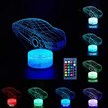 Uideazone Car Night Light,Beside Lamp 7 Colors Change + Remote Control with Timer Kids Night Light Optical Illusion Lamps for Kids Lamp As a Gift Ideas for Boys or Kids