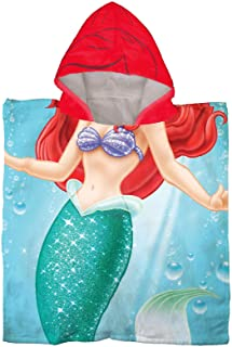 Disney The Little Mermaid Ariel Kids Bath/Pool/Beach Hooded Poncho - Super Soft & Absorbent Cotton Towel, Measures 28 x 28...