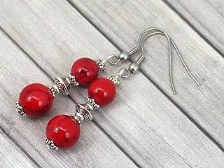 Orecchini Thurcolas pendenti in stile chic e classico in turchese ricostituito rosso e acciaio inossidabile
